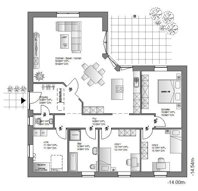 die hauskreation bungalow von haus bietet leben auf einer ebene. Black Bedroom Furniture Sets. Home Design Ideas